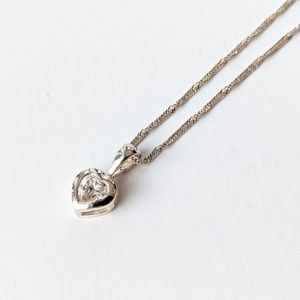 Jewelry - Sterling Zirconia Heart Pendant On Sterling Chain